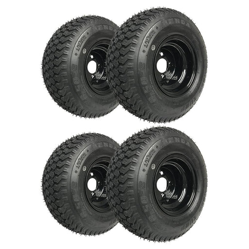 Set of 4 genuine Kenda K500 Super Turf black wheels and tires.