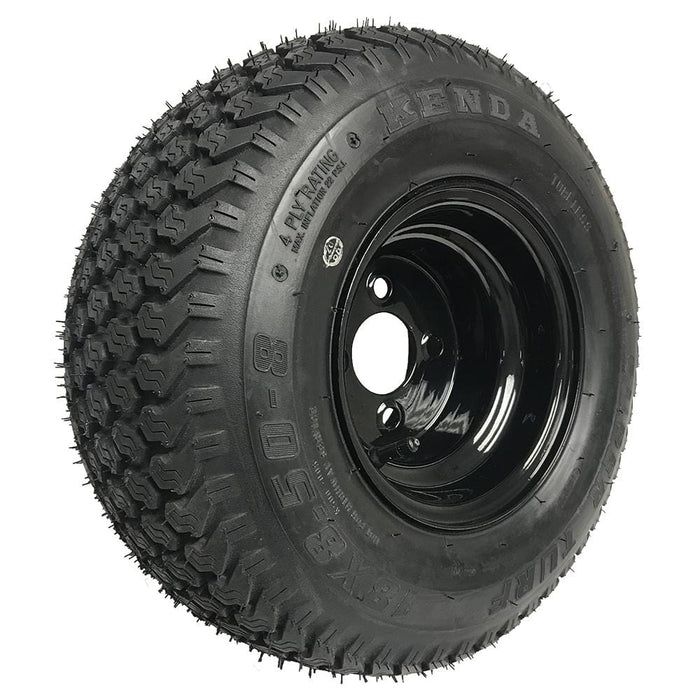Genuine Kenda K500 Super Turf black wheel and tire combination front angle.