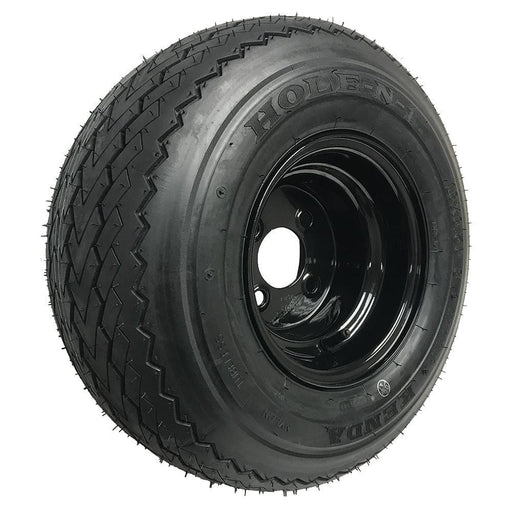Golf cart Kenda Hole-n-1 wheel and tire combination with black rim.