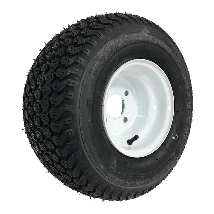 Genuine Kenda K500 Super Turf white wheel and tire combination front angle.