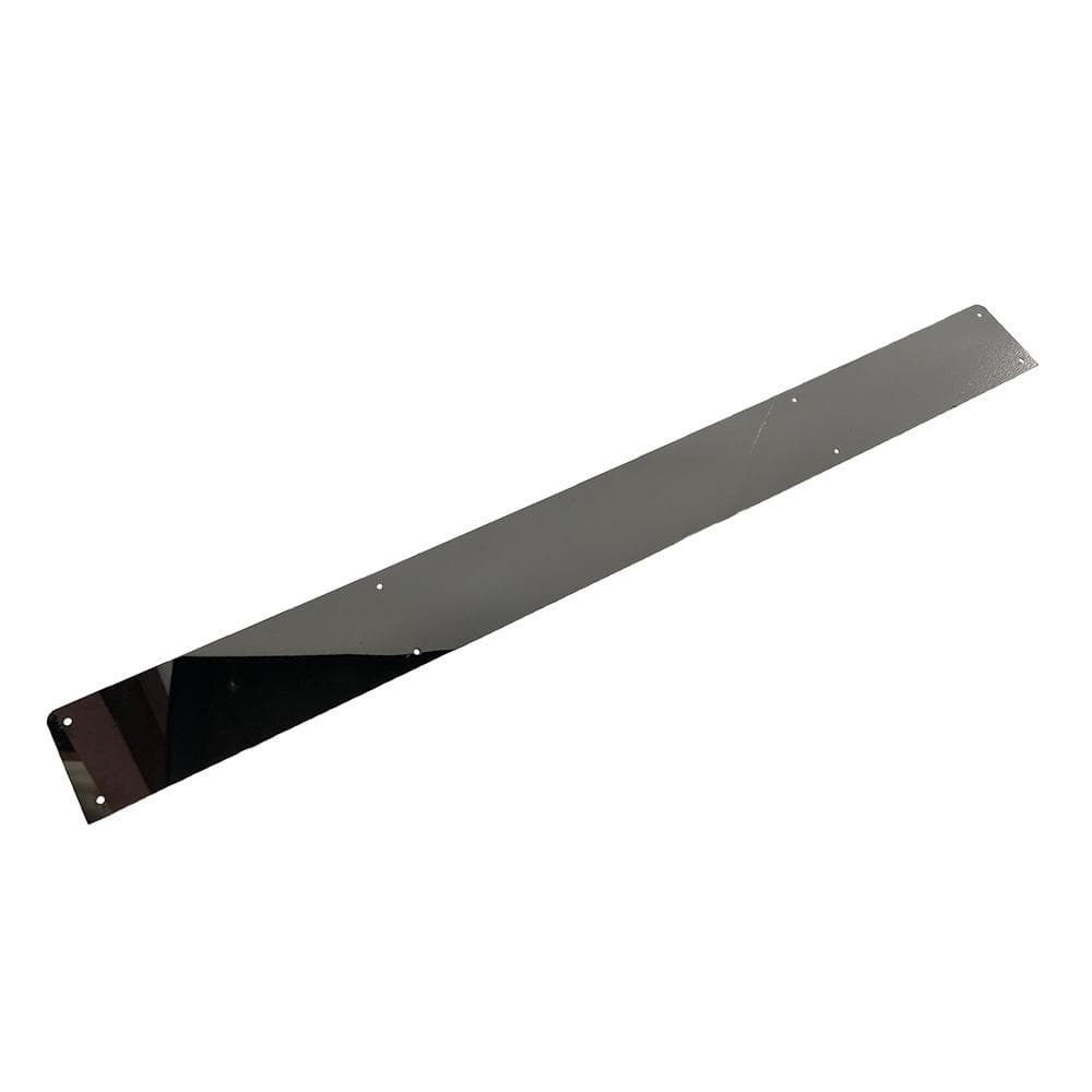 Stainless steel kick plate for EZGO TXT model golf cart.