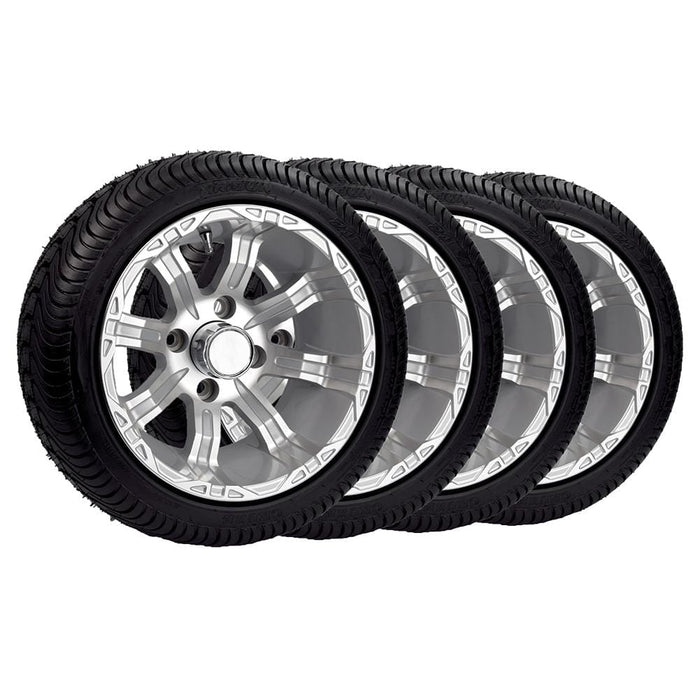 "Set of 4 Silver 12"" wheel and tire combos for all golf carts."