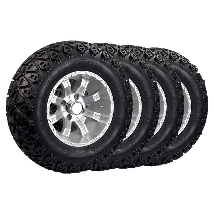 "Set of 4 silver finish 23"" wheel and tire off-road combo with Lama rims and Arisun X-Trail tires."