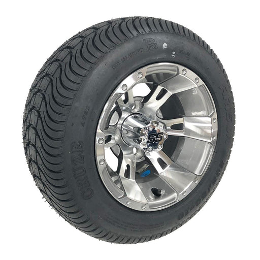 "Stallion 10"" gunmetal wheels and low profile tires for golf cart."
