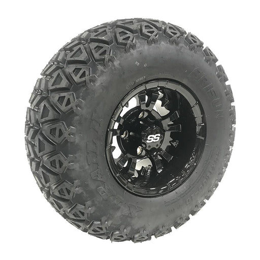 "Masked 10"" gloss black Vampire off-road golf cart wheel and tire combo set with 22"" off road tires."