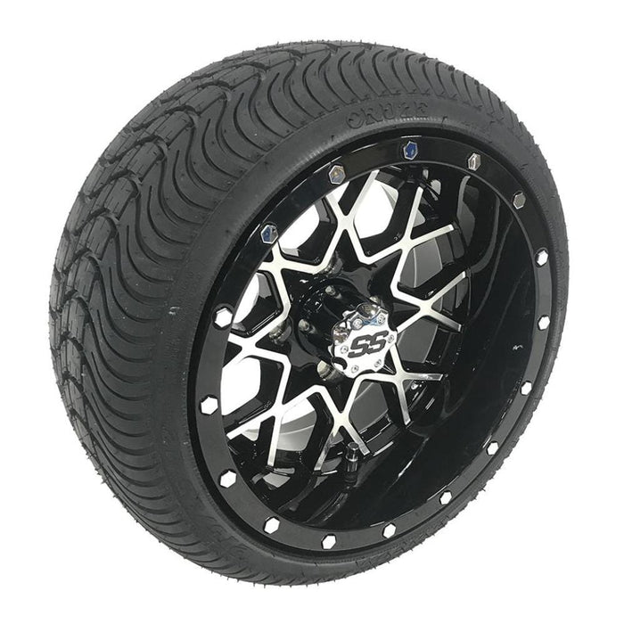 "Low profile turf tire and 12"" Matrix style rim combo set for golf cart in black and machined aluminum."