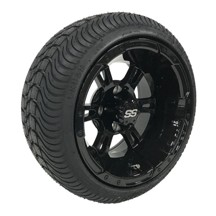 12 inch low profile turf tire and Stallion gloss black finish wheel and tire combo set for golf cart.