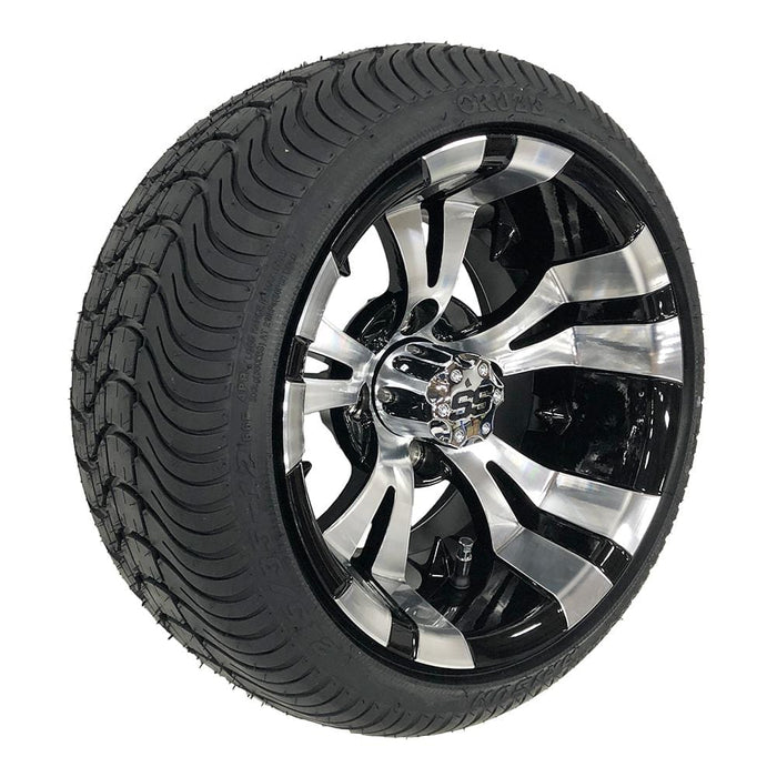 "12"" Vampire golf cart wheel and low profile tire combo in black and machined aluminum."