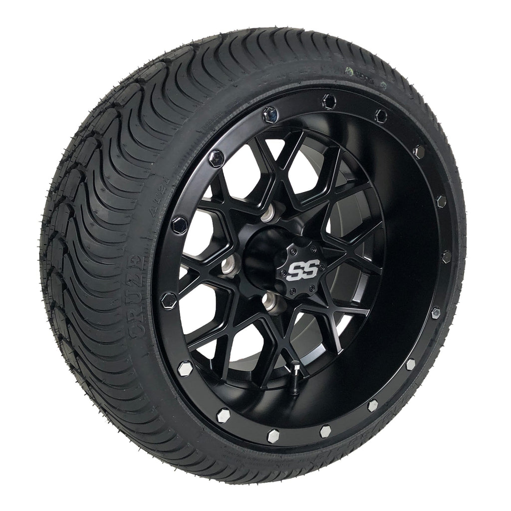 "Angled view of low profile turf tire and 12"" Vortex Matrix style rim combo set for golf cart in matte black."