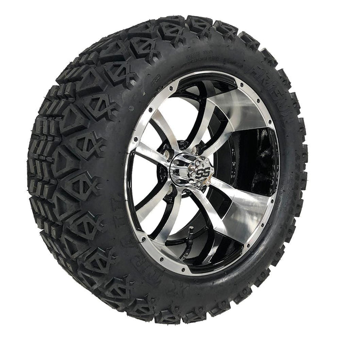 "Feature photo of 14"" Boomerang black and machined off-road golf cart wheel and tire combo set with 23"" Arisun tires."