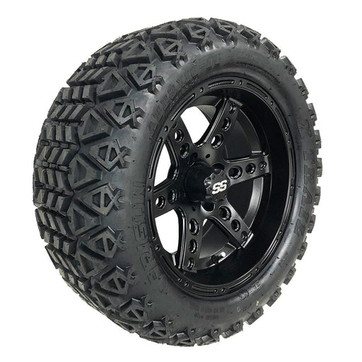 "Feature photo of 14"" Eagle matte black off-road golf cart wheel and tire combo set with 23"" Arisun tires."