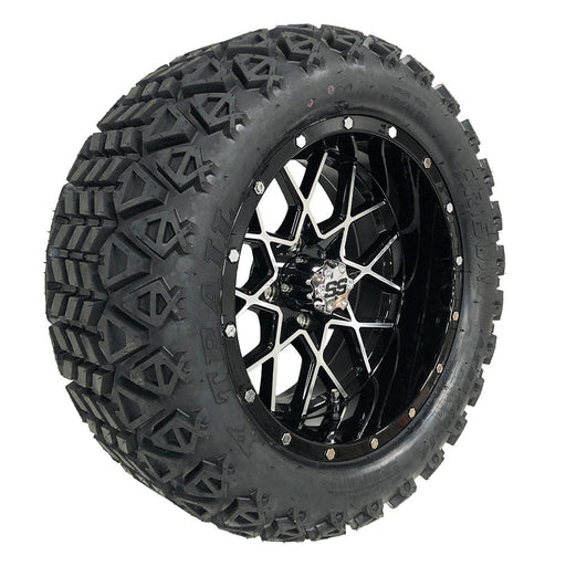 "Feature photo of 14"" Matrix black and machined off-road golf cart wheel and tire combo set with 23"" Arisun tires."