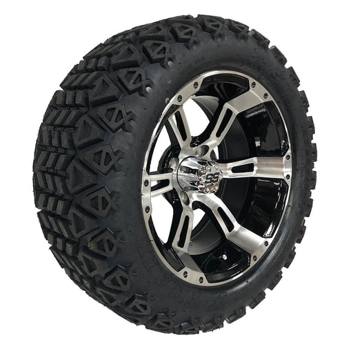 "14"" Stallion black and machined finish golf cart wheels and tires with 23"" off-road tires."