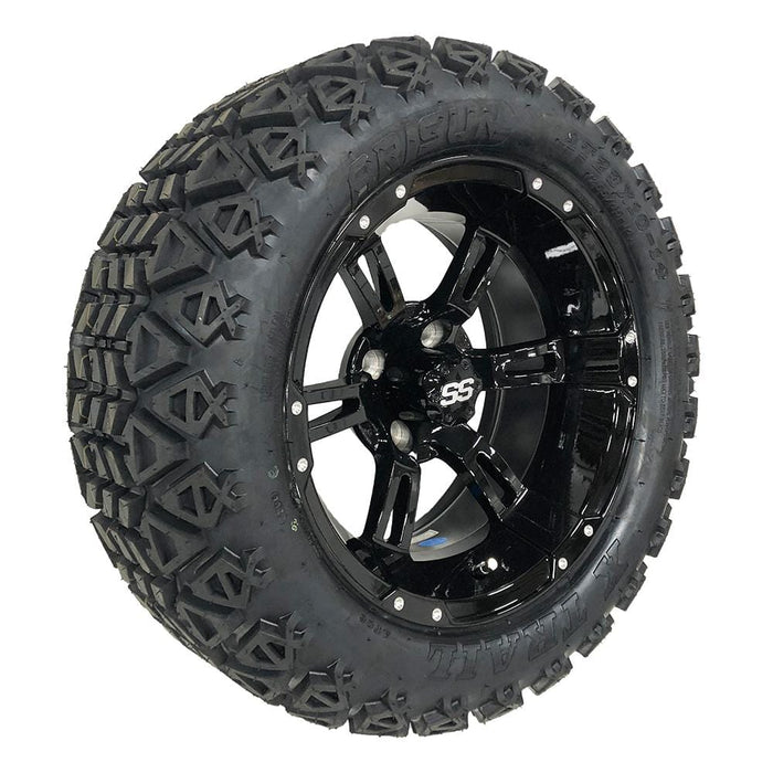 "Feature photo of 14"" Stallion gloss black off-road golf cart wheel and tire combo set with 23"" Arisun tires."