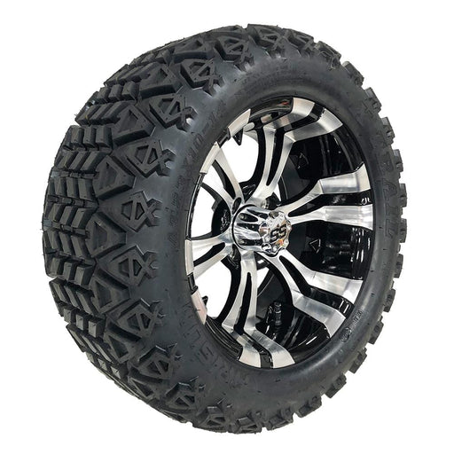 "Feature photo of 14"" Vampire black and machined off-road golf cart wheel and tire combo set with 23"" Arisun tires."
