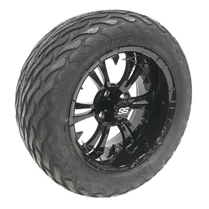 "14"" gloss black Vampire off-road golf cart wheel and tire combo set with 23"" Arisun Lightning tires."
