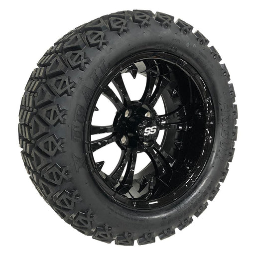 "Vampire 14"" gloss black wheel and off road tire combo for golf cart."