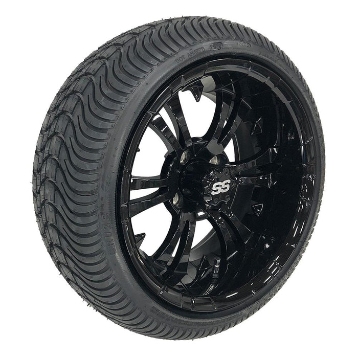 "14"" Vampire golf cart wheel and low profile turf tire combo in gloss black finish."