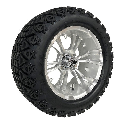 "Feature photo of 14"" Vampire silver and machined off-road golf cart wheel and tire combo set with 23"" Arisun tires."