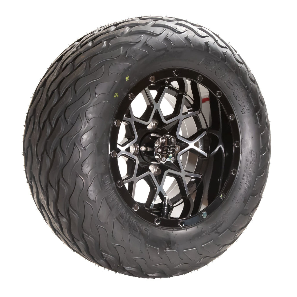 "Angled view of Matrix black and machined aluminum wheel and 23"" Arisun Lightning hybrid tire combo set for golf cart."