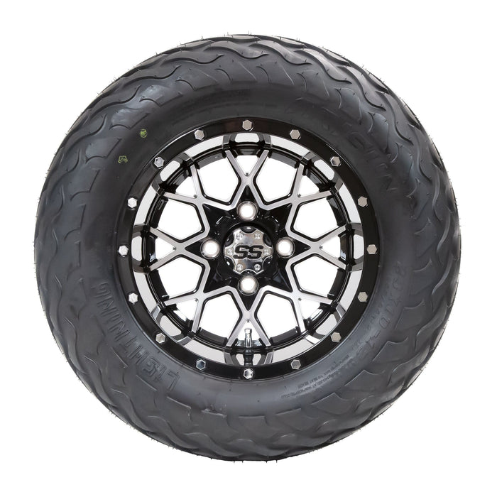 "Matrix black and machined aluminum wheel and 23"" Arisun Lightning hybrid tire combo set for golf cart."