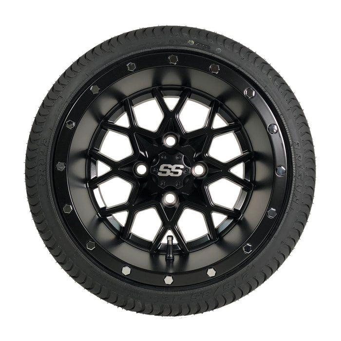 "Low profile turf tire and 12"" Vortex Matrix style rim combo set for golf cart in matte black."