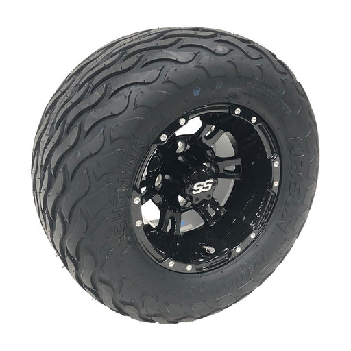 "Masked 10"" gloss black Stallion off-road golf cart wheel and tire combo set with 20"" Arisun tires."