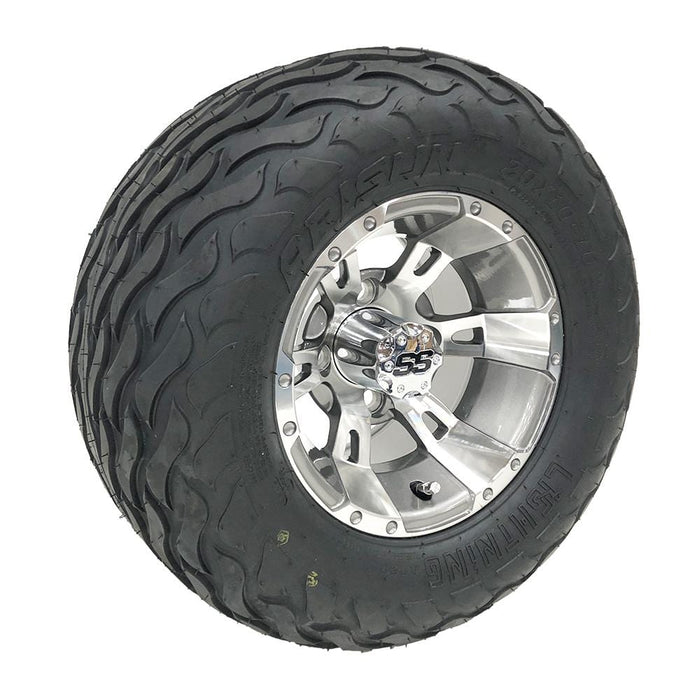 "Stallion 10"" wheel and Lightning all-terrain tire combo for golf cart."