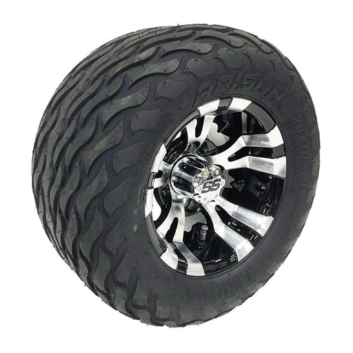 "Masked 10"" black and machined aluminum Vampire off-road golf cart wheel and tire combo set with 20"" Arisun tires."