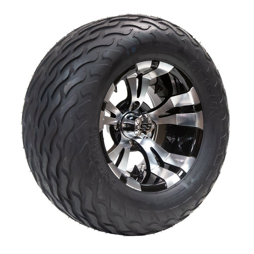 "Vampire black and machined aluminum wheel and 23"" Arisun Lightning hybrid tire combo set for golf cart."