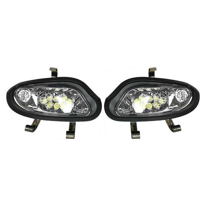 A pair of LED headlight assemblies for an EZGO TXT Valor model golf cart.
