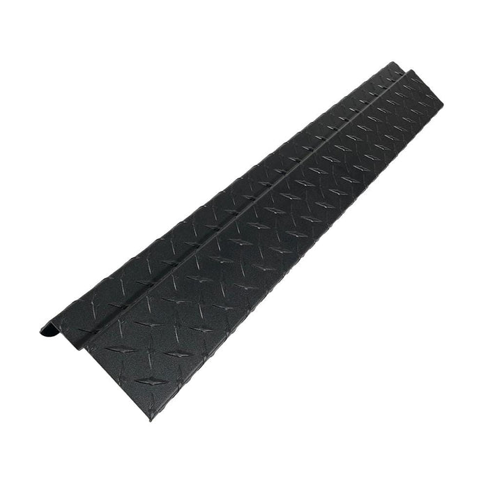 Black powder coated diamond plate rear bumper cover for Club Car DS golf cart.