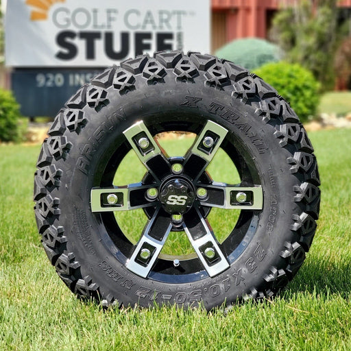 "12"" Rebel off-road golf cart wheel and tire combo set with 23"" off road tires."