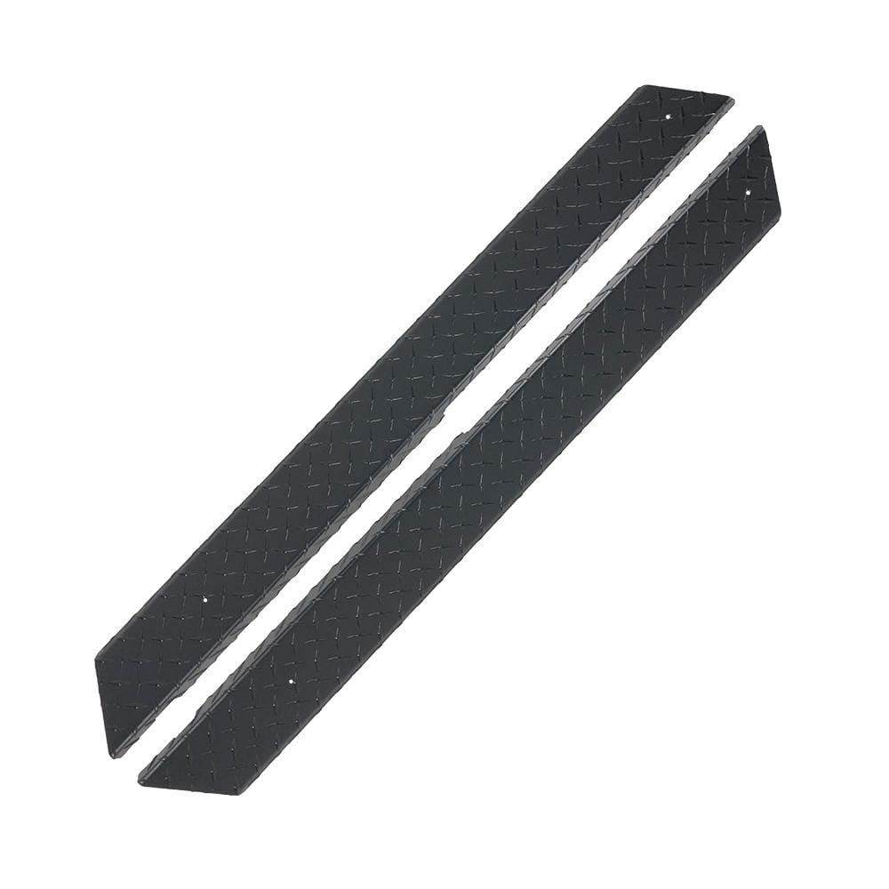 Black powder coated diamond plate rocker panel set for Club Car DS golf cart.
