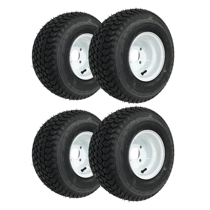 Set of 4 genuine Kenda K500 Super Turf white wheels and tires.