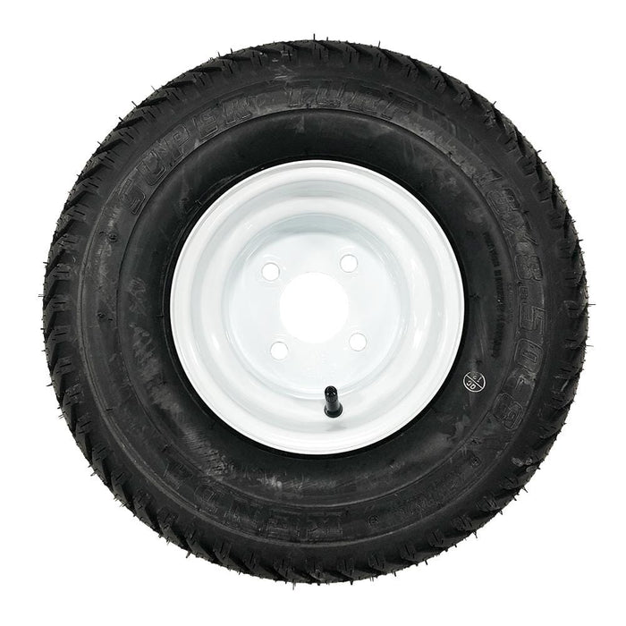 Genuine Kenda K500 Super Turf white wheel and tire combination.