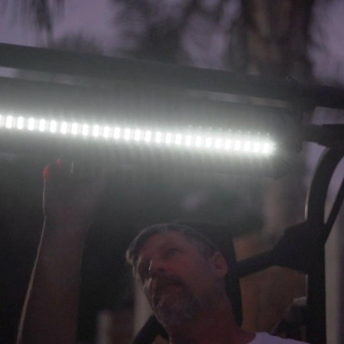 Installed photo of golf cart bluetooth sound bar and led lighting.