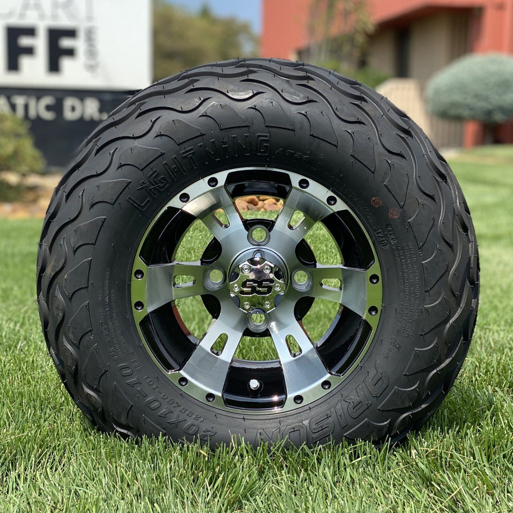 "10"" black and machined aluminum Stallion off-road golf cart wheel and tire combo set with 20"" Arisun tires."