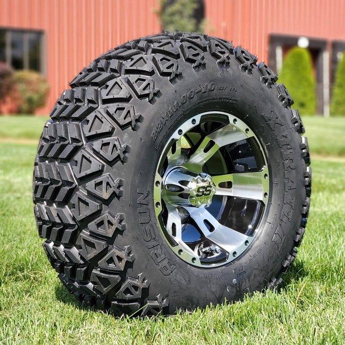 "Angled view of 10"" black and machined aluminum Stallion off-road golf cart wheel and tire combo set with 22"" off road tires."
