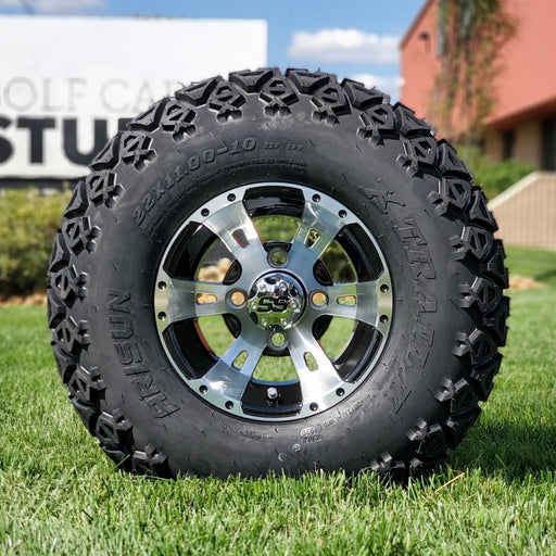 "10"" black and machined aluminum Stallion off-road golf cart wheel and tire combo set with 22"" off road tires."