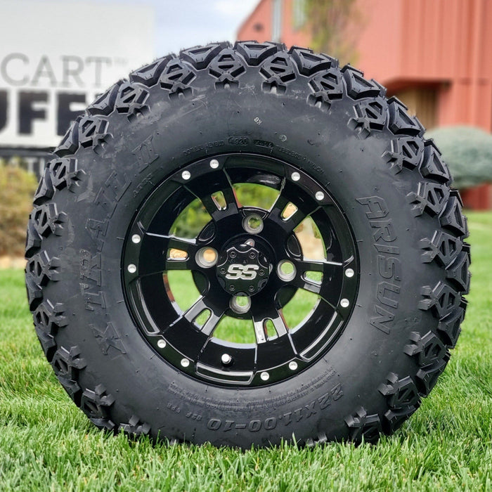 "10"" gloss black Stallion off-road golf cart wheel and tire combo set with 22"" off road tires."