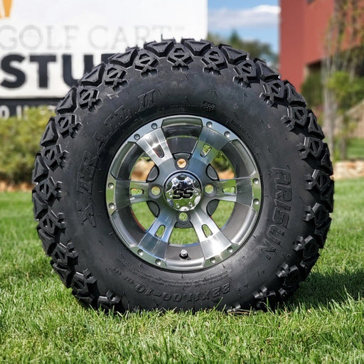 "10"" Stallion off-road golf cart wheel and tire combo set with 22"" off road tires."