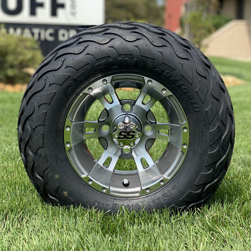 "10"" gunmetal and machined aluminum Stallion off-road golf cart wheel and tire combo set with 20"" Arisun tires."