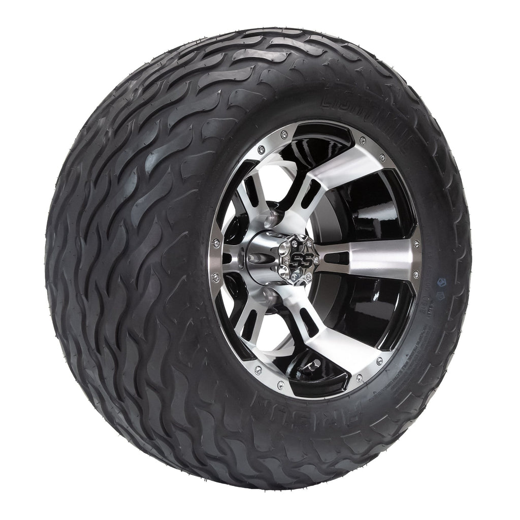 "Angled view of Stallion black and machined aluminum wheel and 23"" Arisun Lightning hybrid tire combo set for golf cart."
