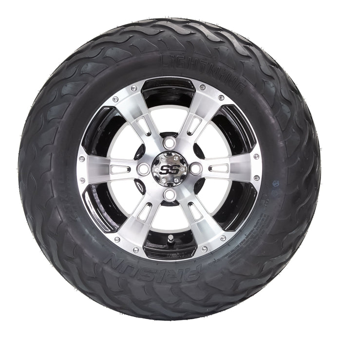 "Stallion black and machined aluminum wheel and 23"" Arisun Lightning hybrid tire combo set for golf cart."