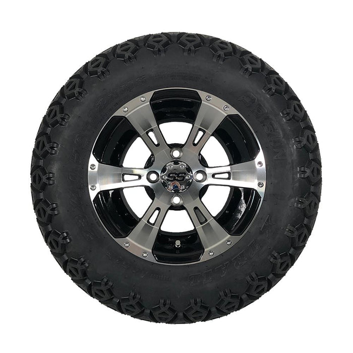 "12"" black and machined aluminum Stallion off-road golf cart wheel and tire combo set with 23"" off road tires."