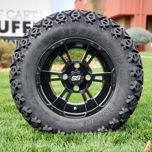 "12"" gloss black Stallion off-road golf cart wheel and tire combo set with 23"" off road tires."