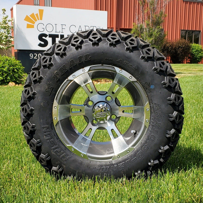 "12"" Stallion off-road golf cart wheel and tire combo set with 23"" off road tires.."