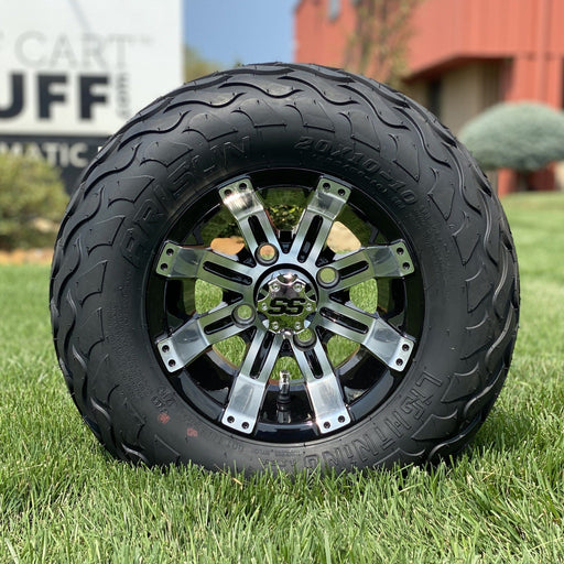"10"" black and machined aluminum Storm all-terrain golf cart wheel and tire combo set with 20"" Arisun tires."