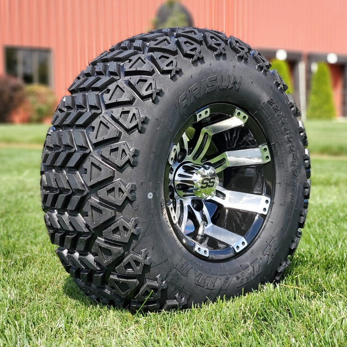 "Angled view of 10"" Storm off-road golf cart wheel and tire combo set with 22"" off road tires."